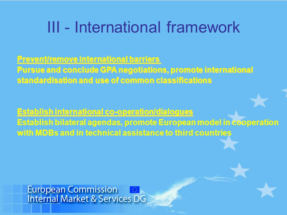 III - International framework