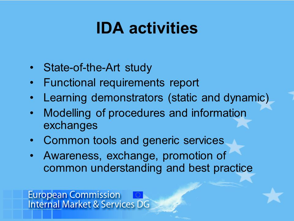 IDA activities State-of-the-Art study Functional requirements report