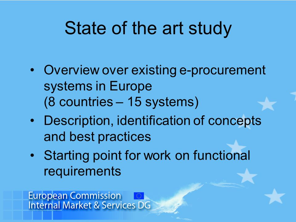 State of the art study Overview over existing e-procurement systems in Europe (8 countries – 15 systems)