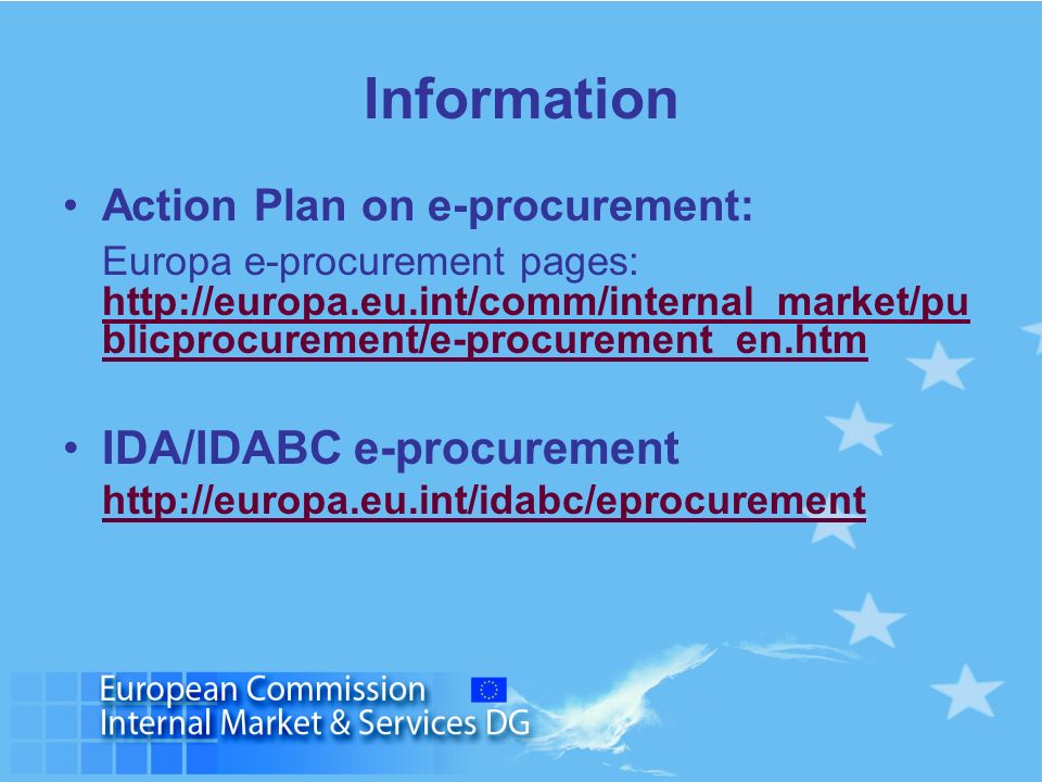 Information IDA/IDABC e-procurement Action Plan on e-procurement: