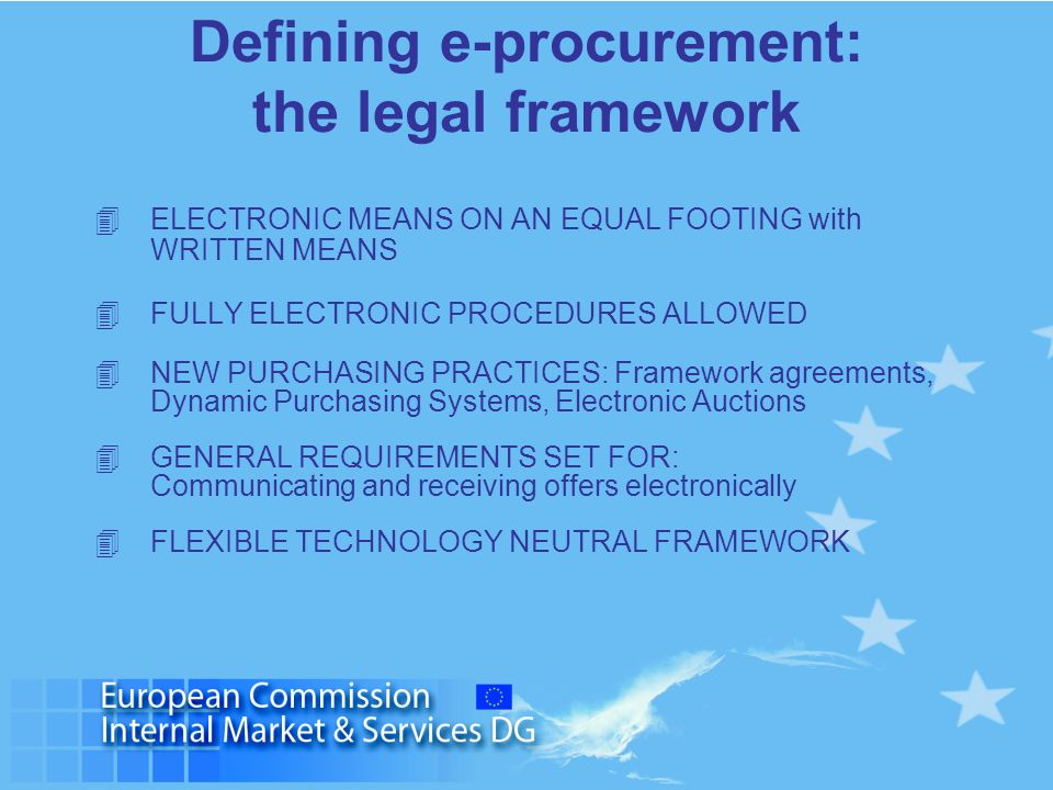 Defining e-procurement: the legal framework