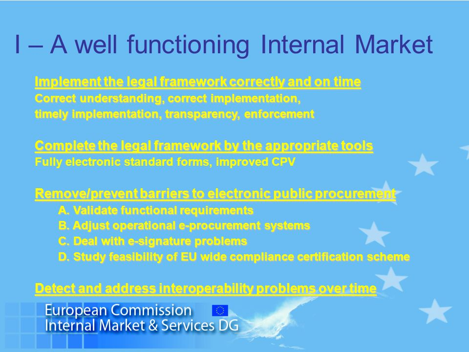 I – A well functioning Internal Market