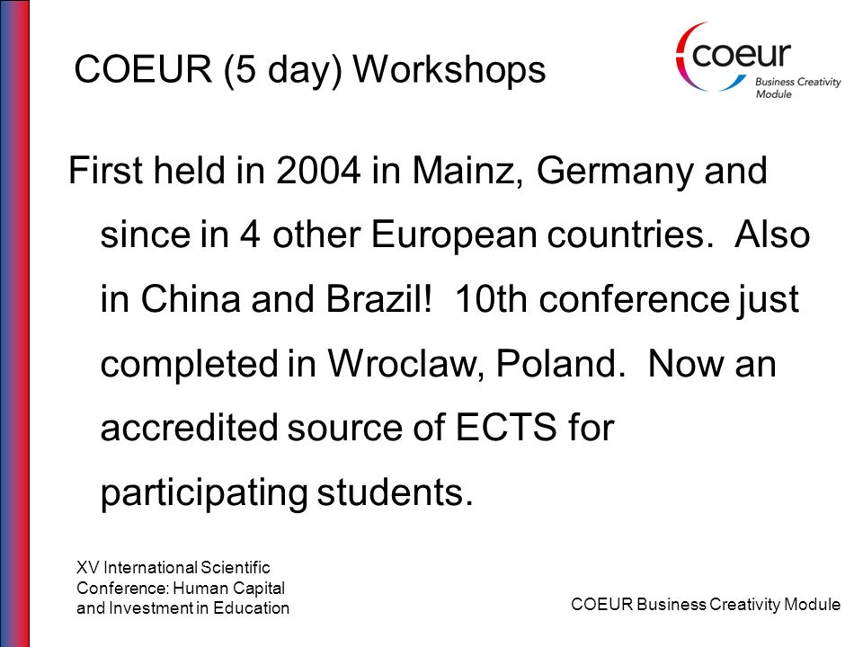 COEUR (5 day) Workshops
