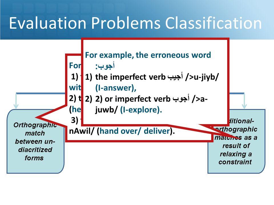 Evaluation Problems Classification