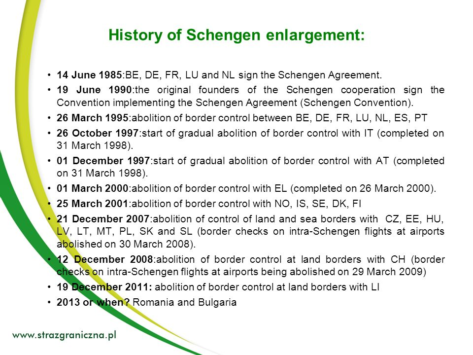 History of Schengen enlargement: