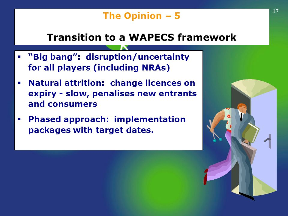 The Opinion – 5 Transition to a WAPECS framework