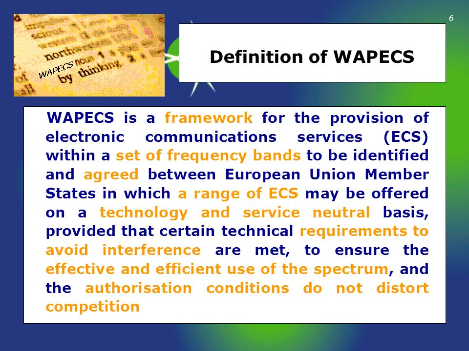 Definition of WAPECS
