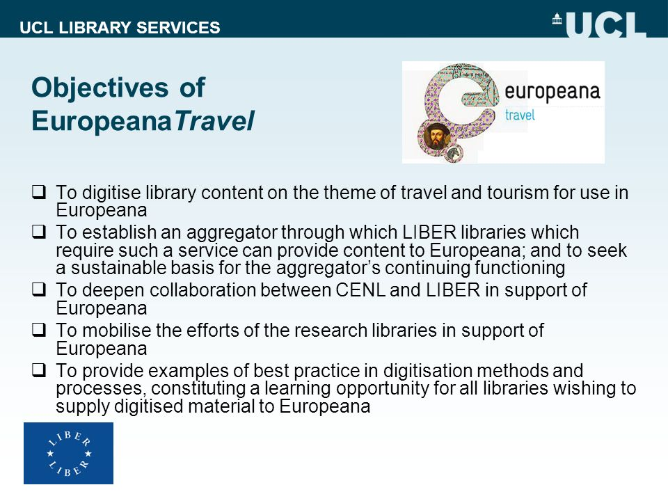 Objectives of EuropeanaTravel