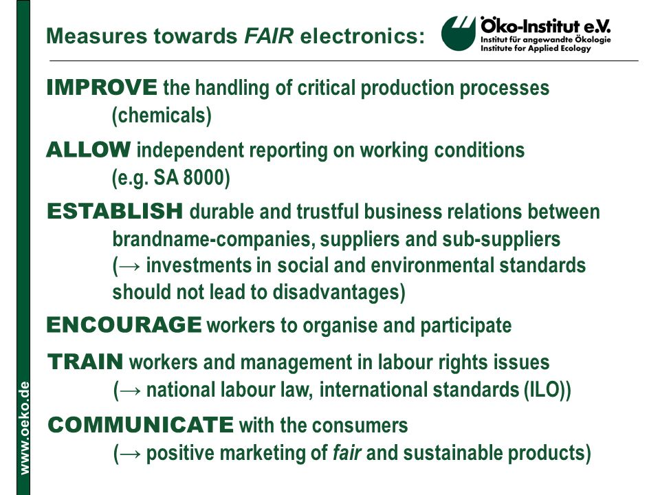 Measures towards FAIR electronics: