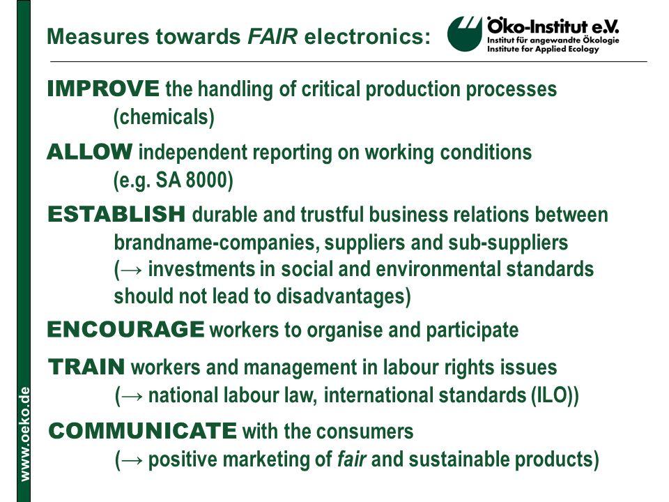 Measures towards FAIR electronics: