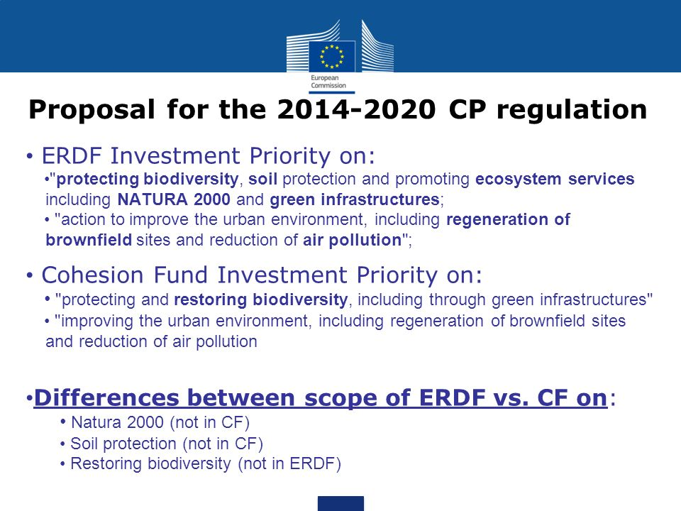 Proposal for the 2014-2020 CP regulation