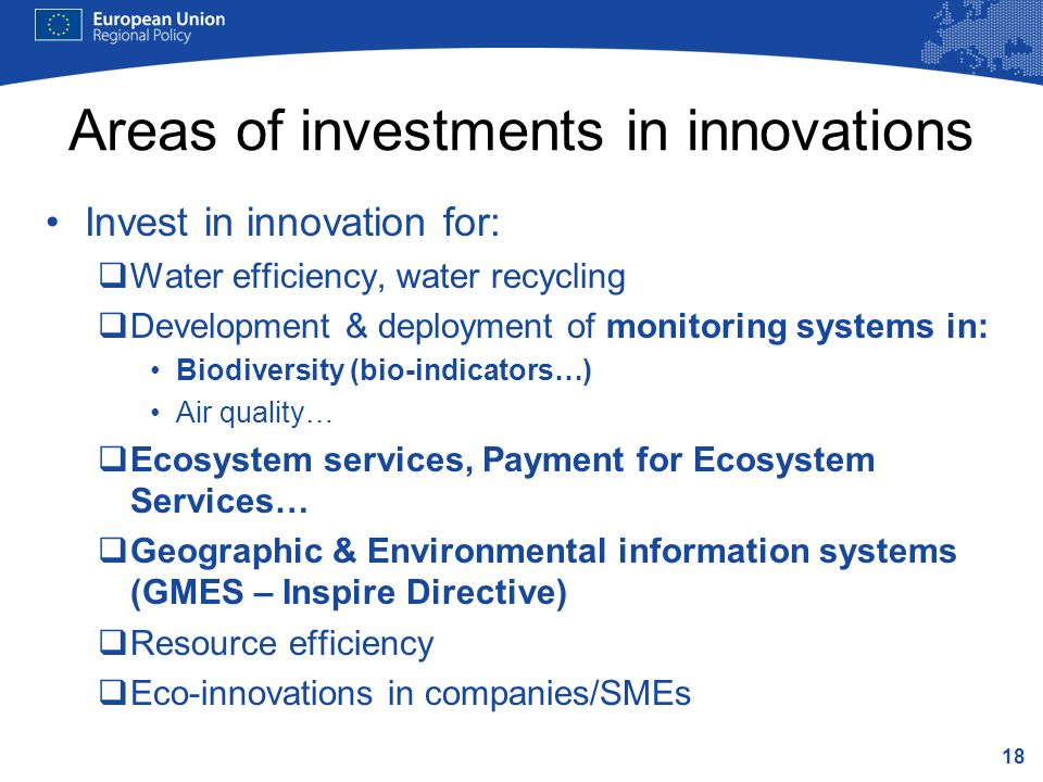 Areas of investments in innovations