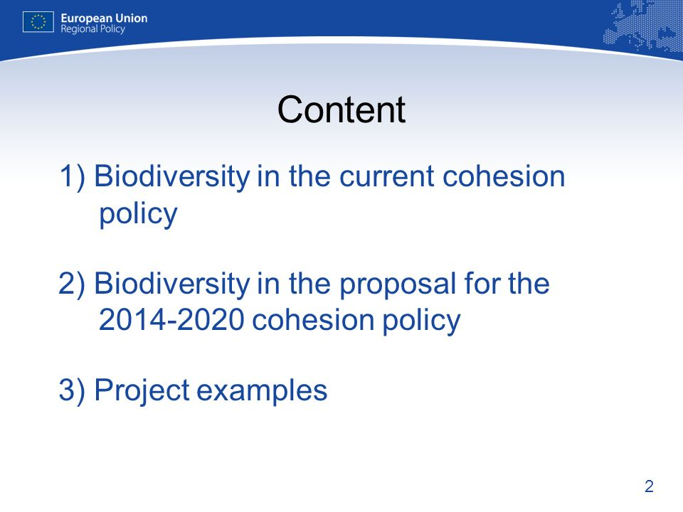 Content 1) Biodiversity in the current cohesion policy