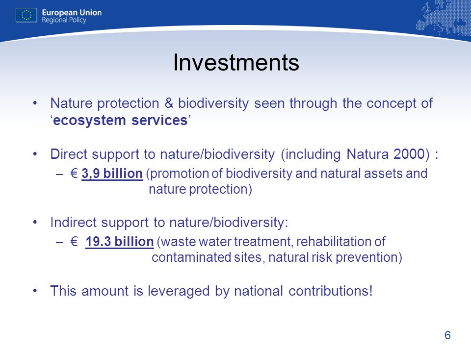 Investments Nature protection & biodiversity seen through the concept of 'ecosystem services'