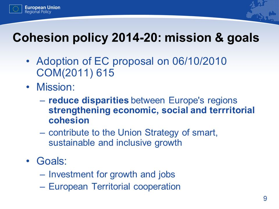 Cohesion policy 2014-20: mission & goals