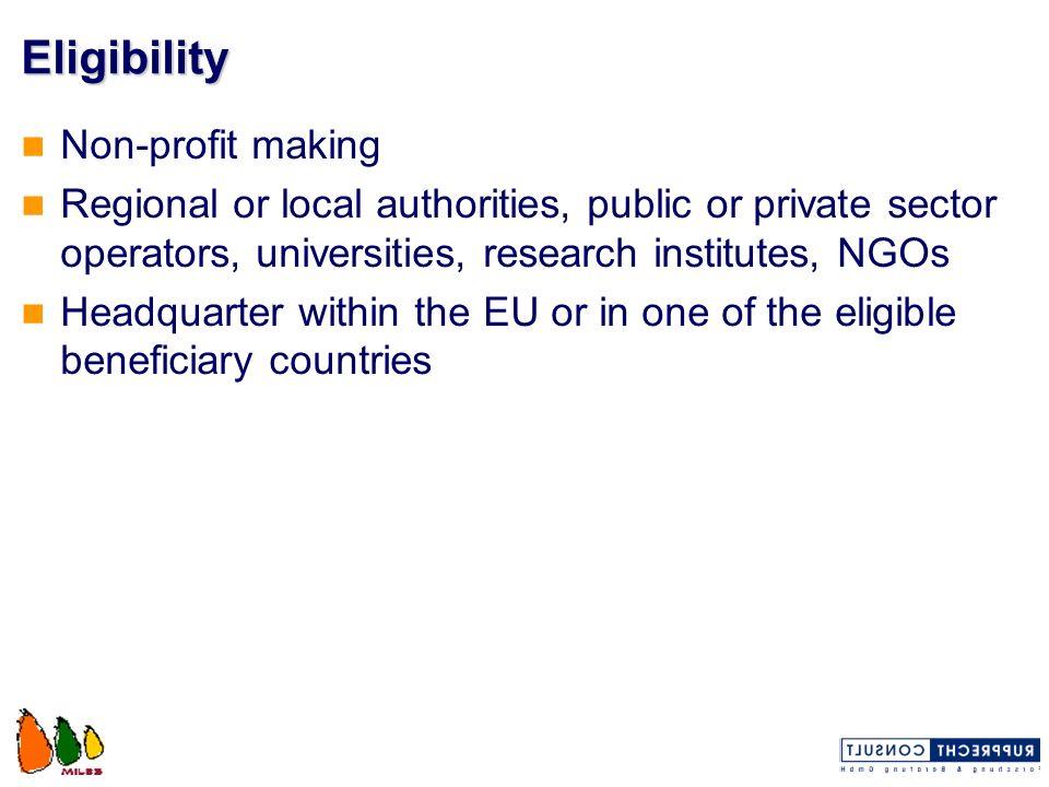 Eligibility Non-profit making