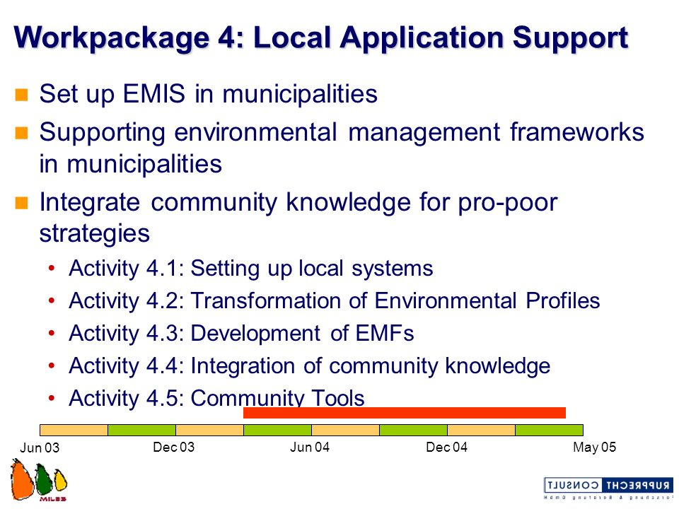 Workpackage 4: Local Application Support