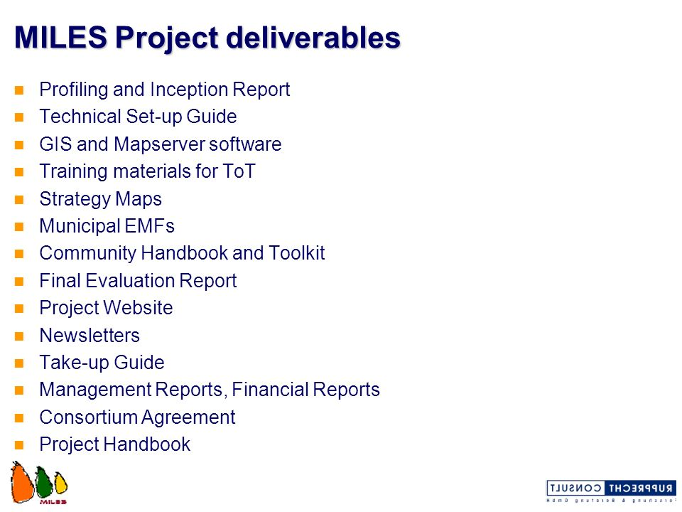 MILES Project deliverables
