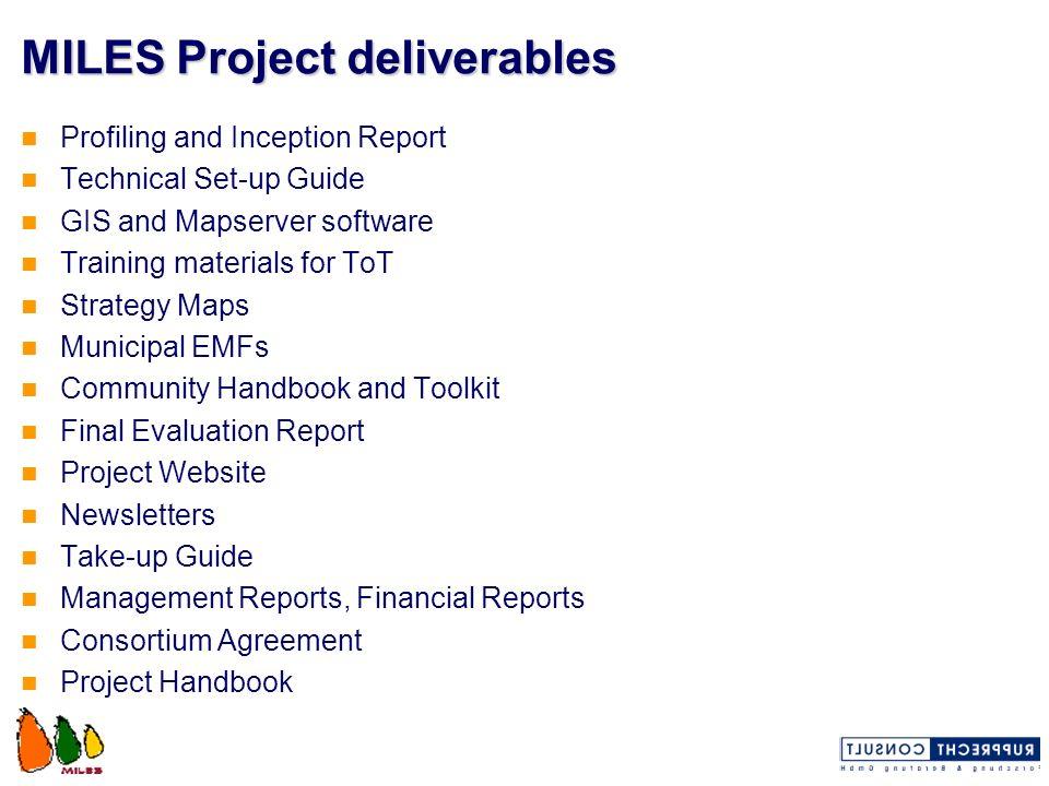 MILES Project deliverables