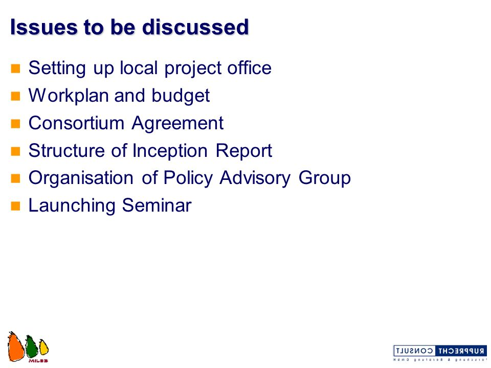 Issues to be discussed Setting up local project office