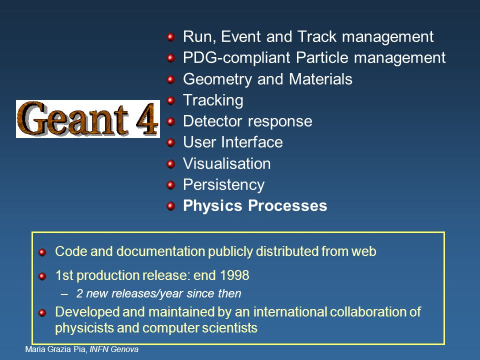 Run, Event and Track management PDG-compliant Particle management