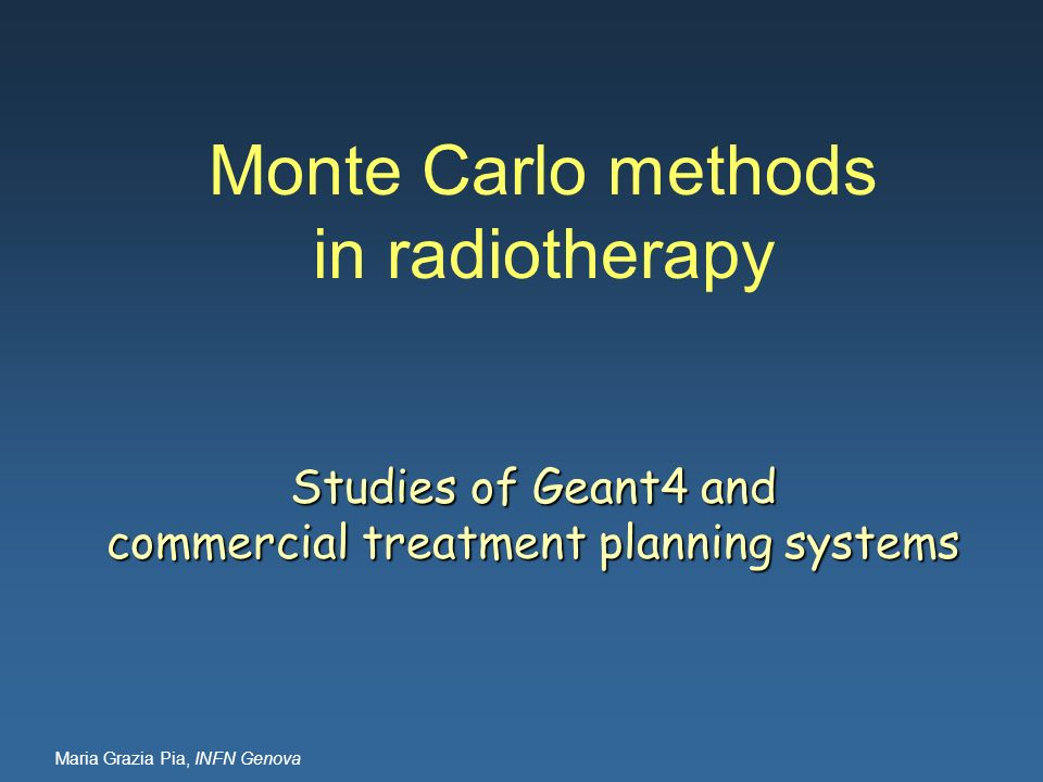 Monte Carlo methods in radiotherapy
