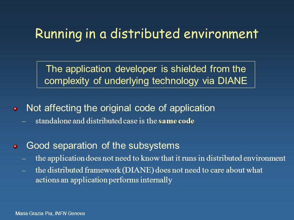 Running in a distributed environment
