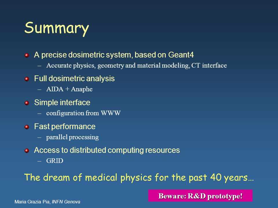 Summary The dream of medical physics for the past 40 years…