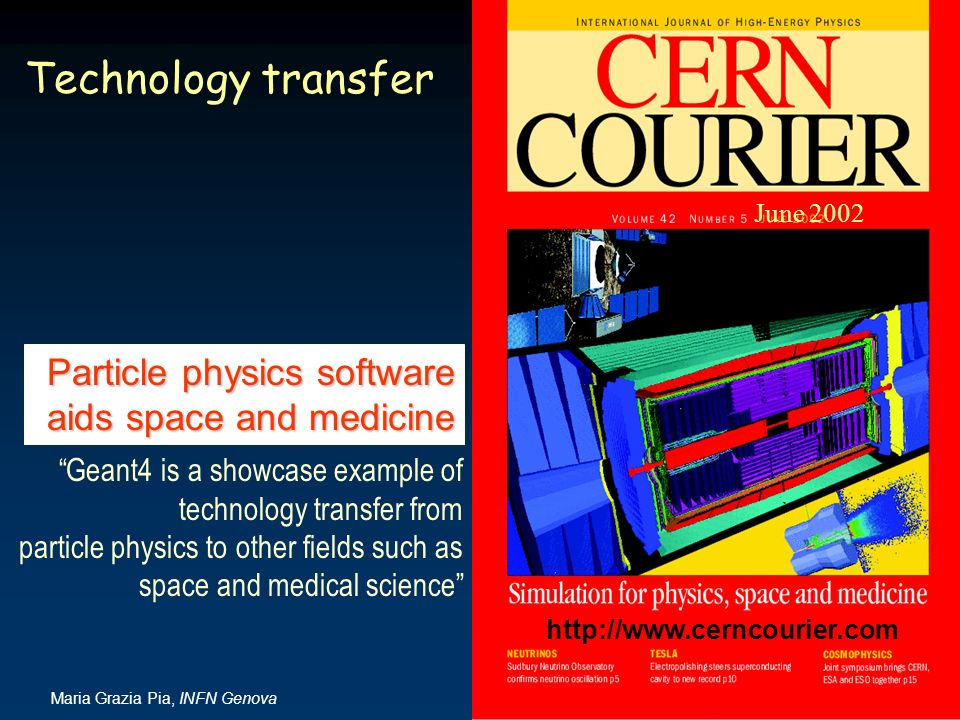 Technology transfer Particle physics software aids space and medicine