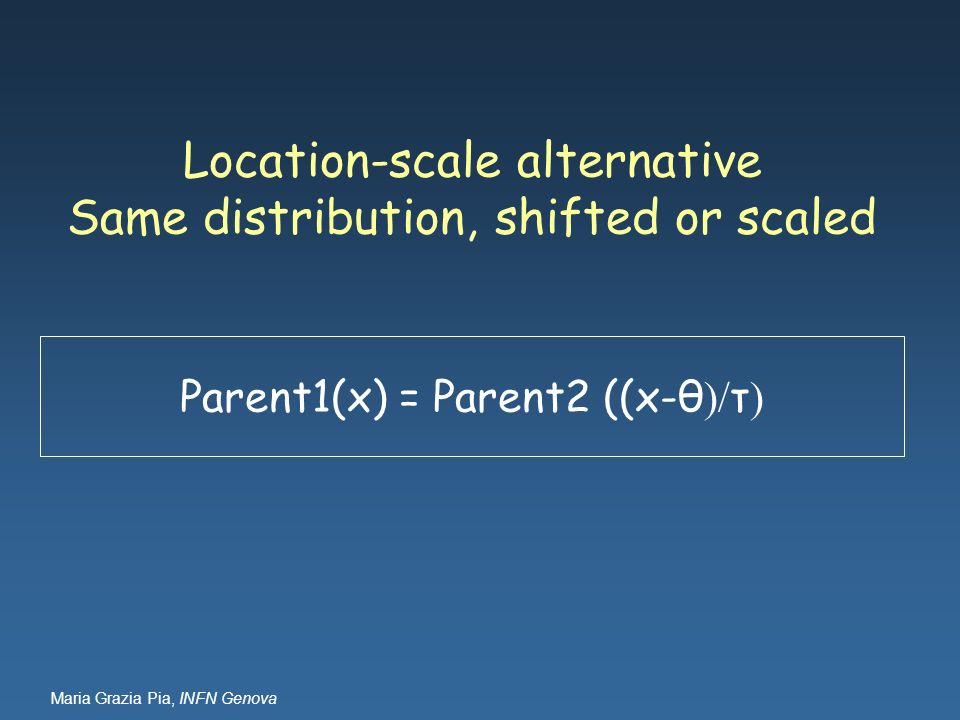 Location-scale alternative Same distribution, shifted or scaled