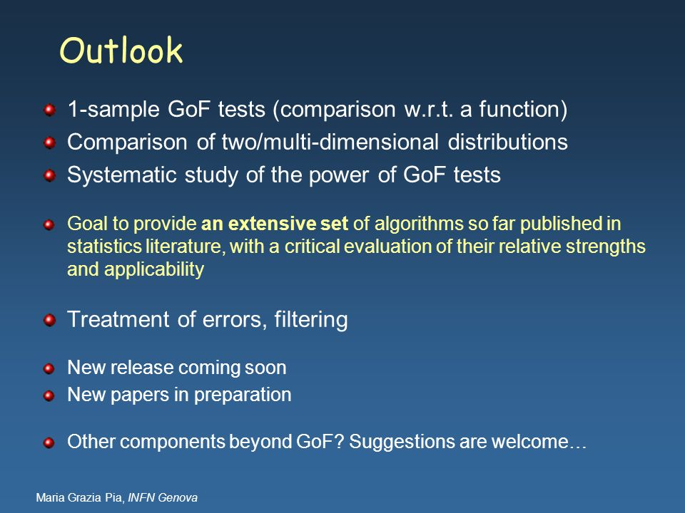 Outlook 1-sample GoF tests (comparison w.r.t. a function)