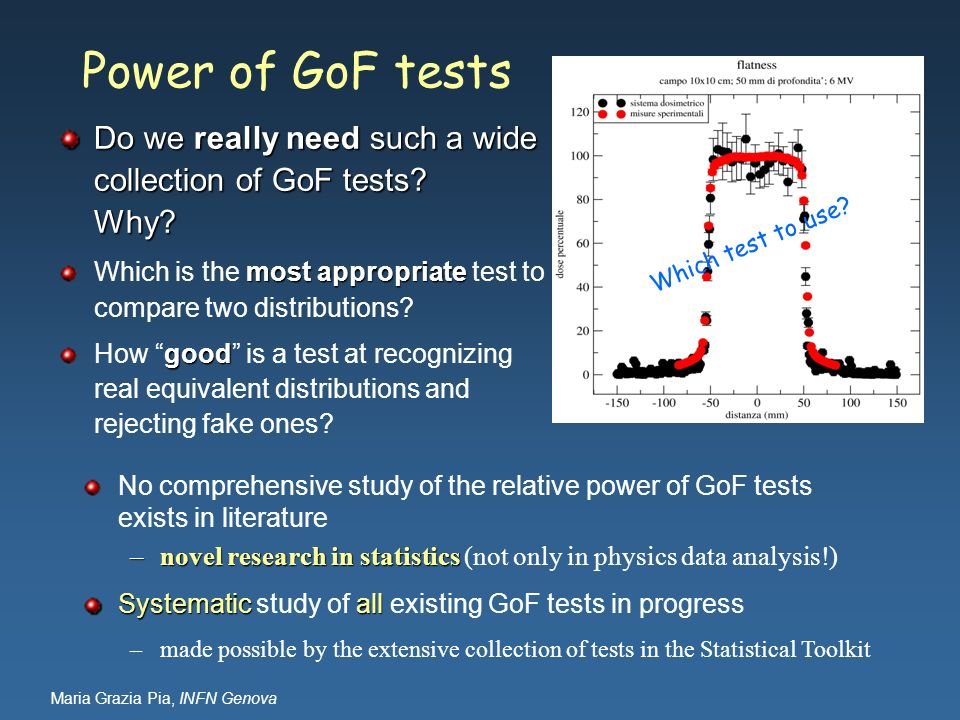 Power of GoF tests Do we really need such a wide collection of GoF tests Why Which is the most appropriate test to compare two distributions