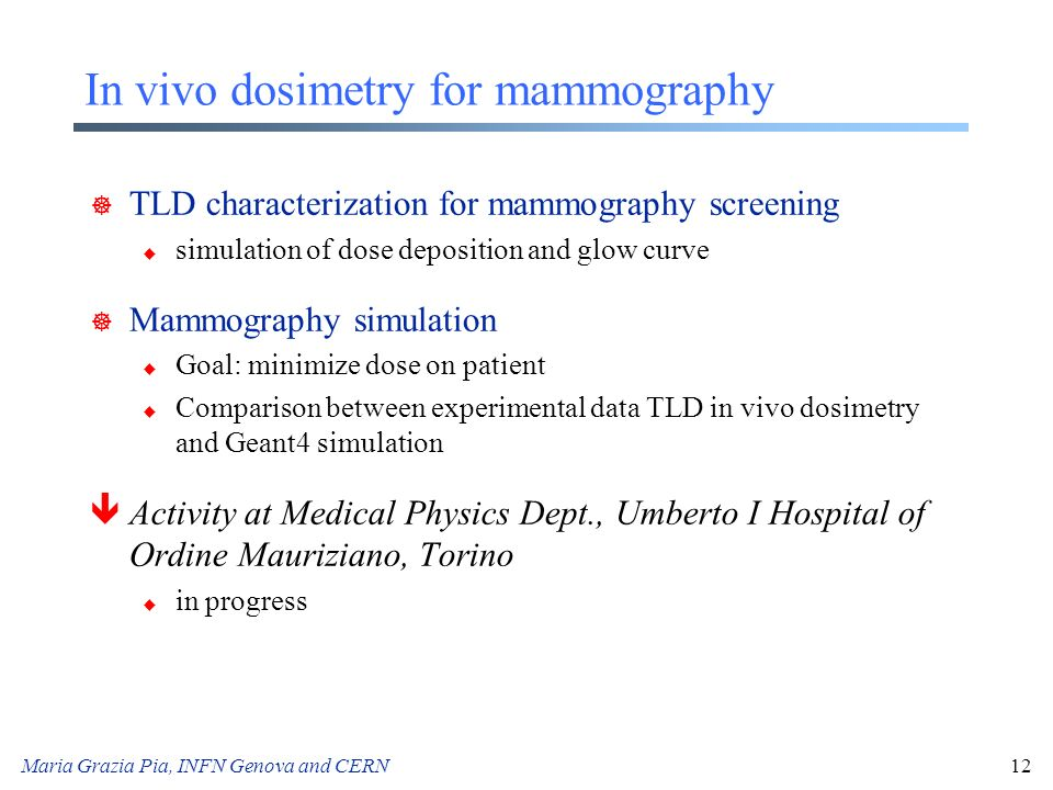 In vivo dosimetry for mammography