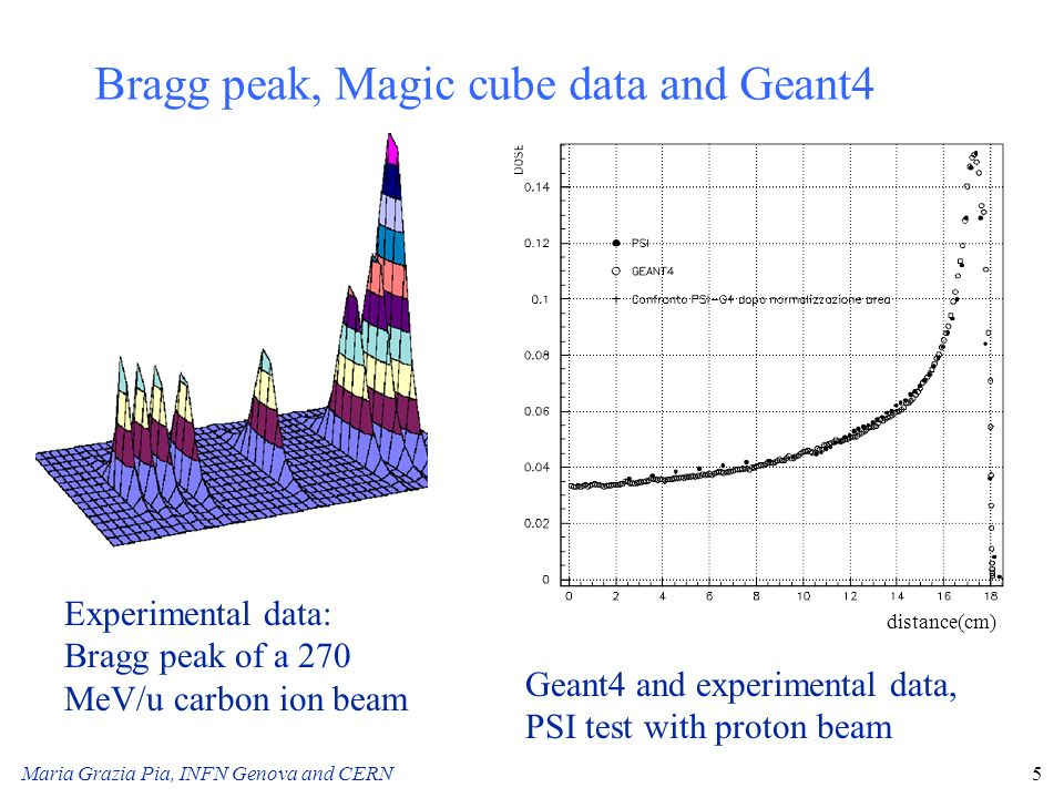 Bragg peak, Magic cube data and Geant4