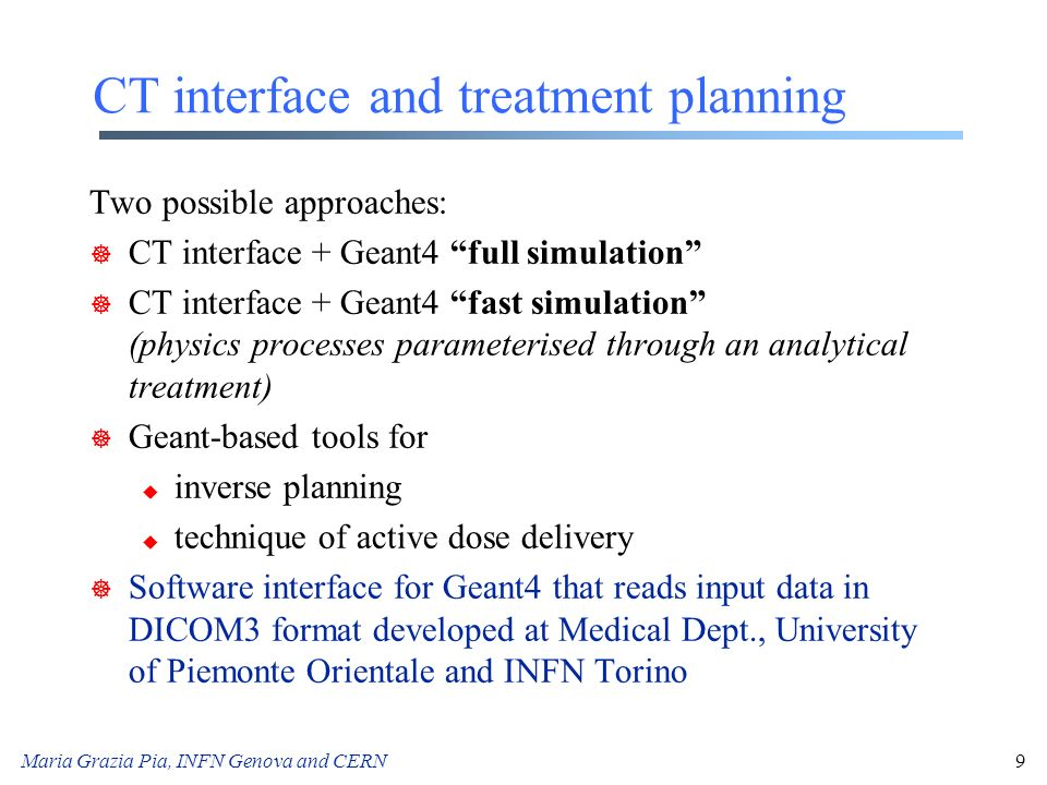 CT interface and treatment planning