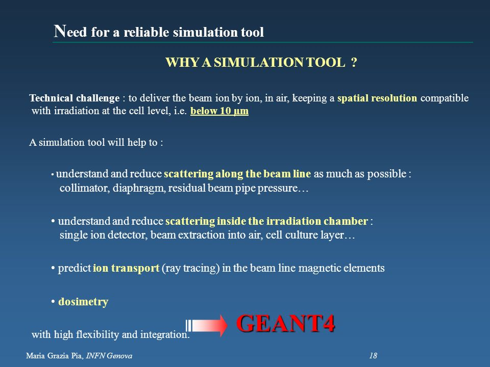 GEANT4 Need for a reliable simulation tool WHY A SIMULATION TOOL