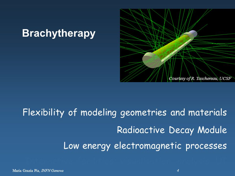 Brachytherapy Flexibility of modeling geometries and materials
