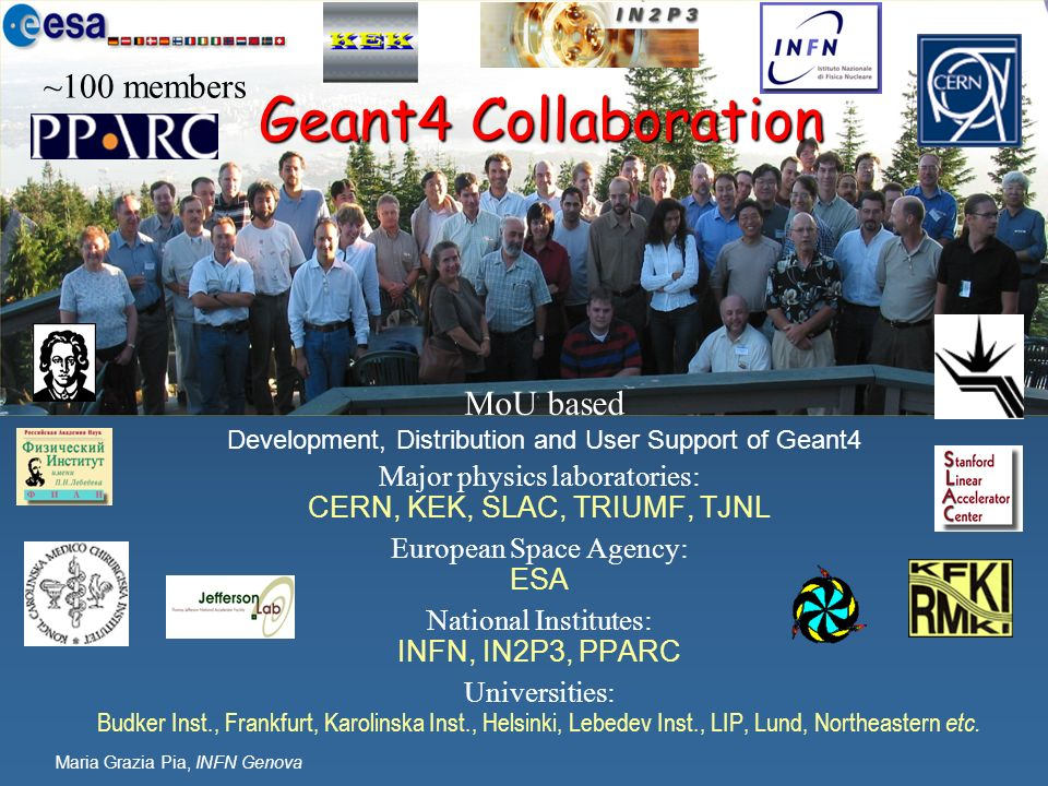 Geant4 Collaboration ~100 members MoU based