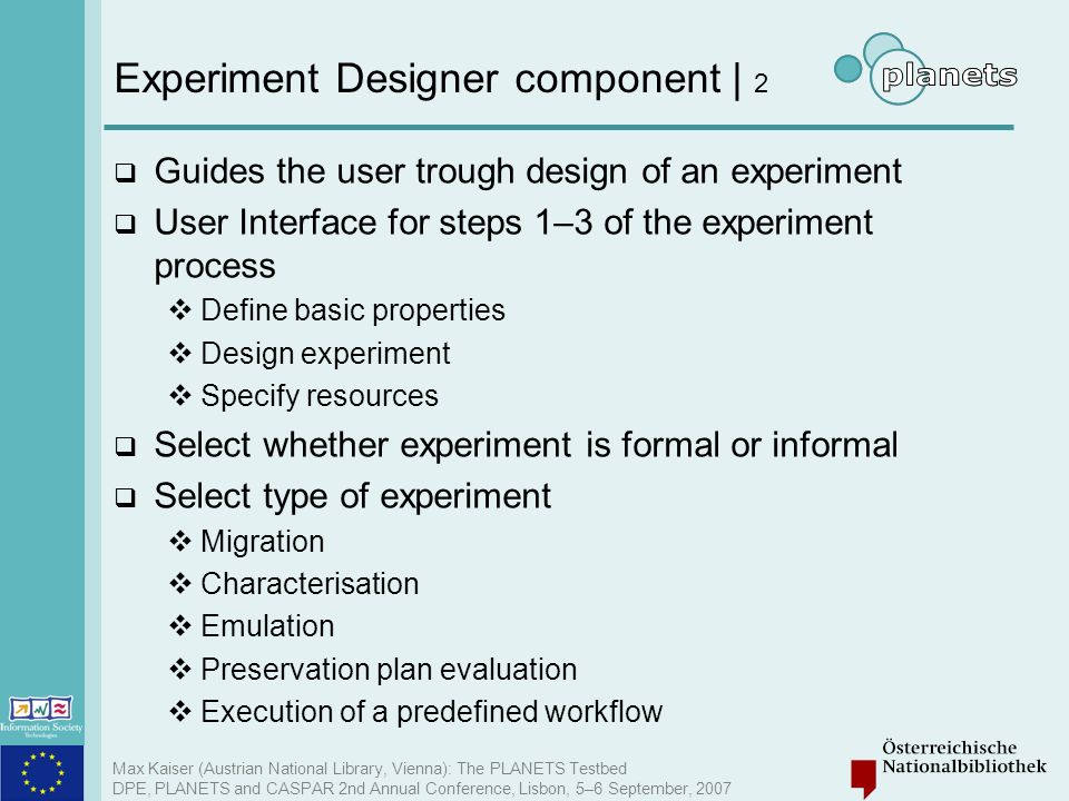 Experiment Designer component | 2