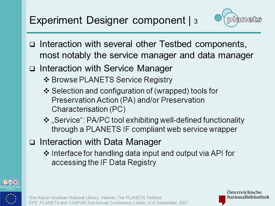 Experiment Designer component | 3