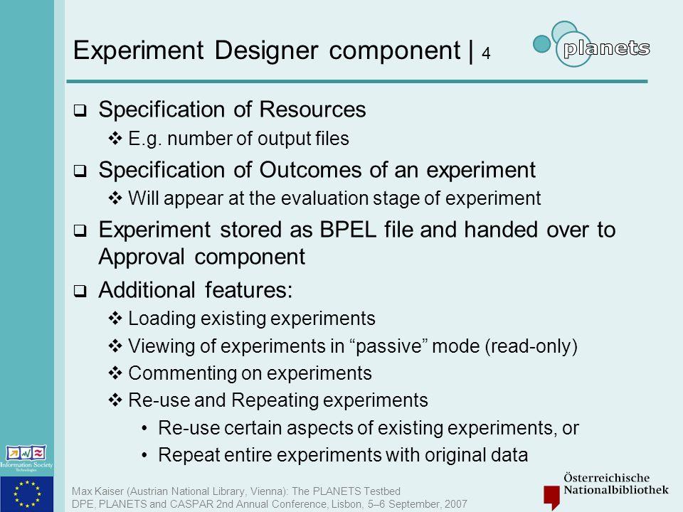 Experiment Designer component | 4