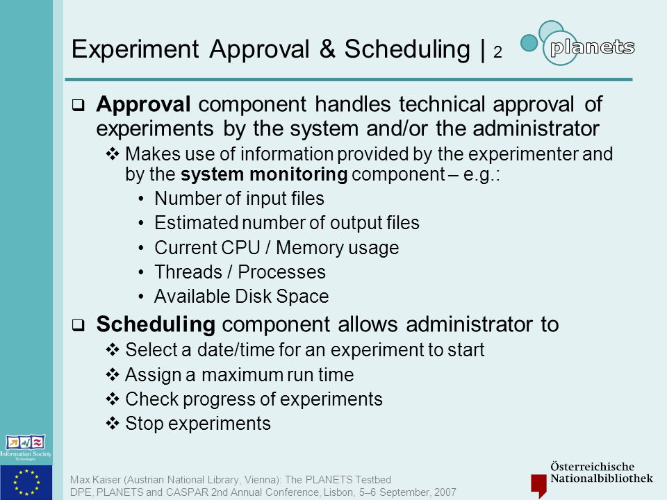 Experiment Approval & Scheduling | 2