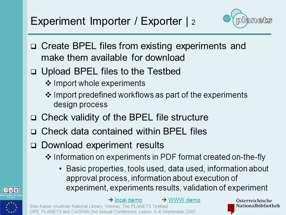 Experiment Importer / Exporter | 2