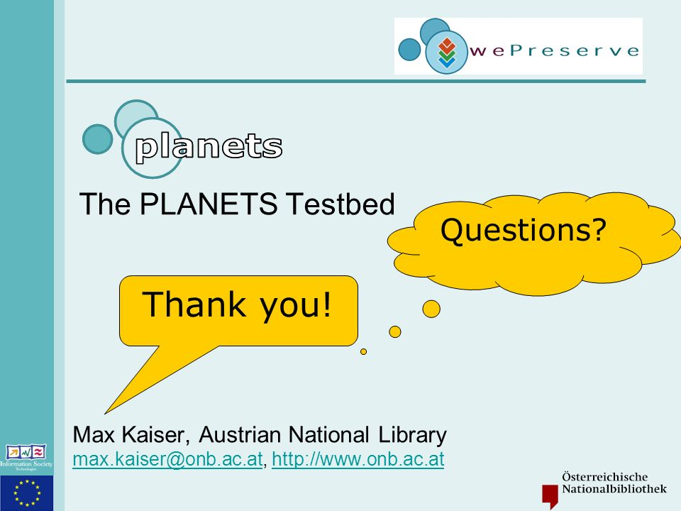 Max Kaiser: PLANETS Testbed