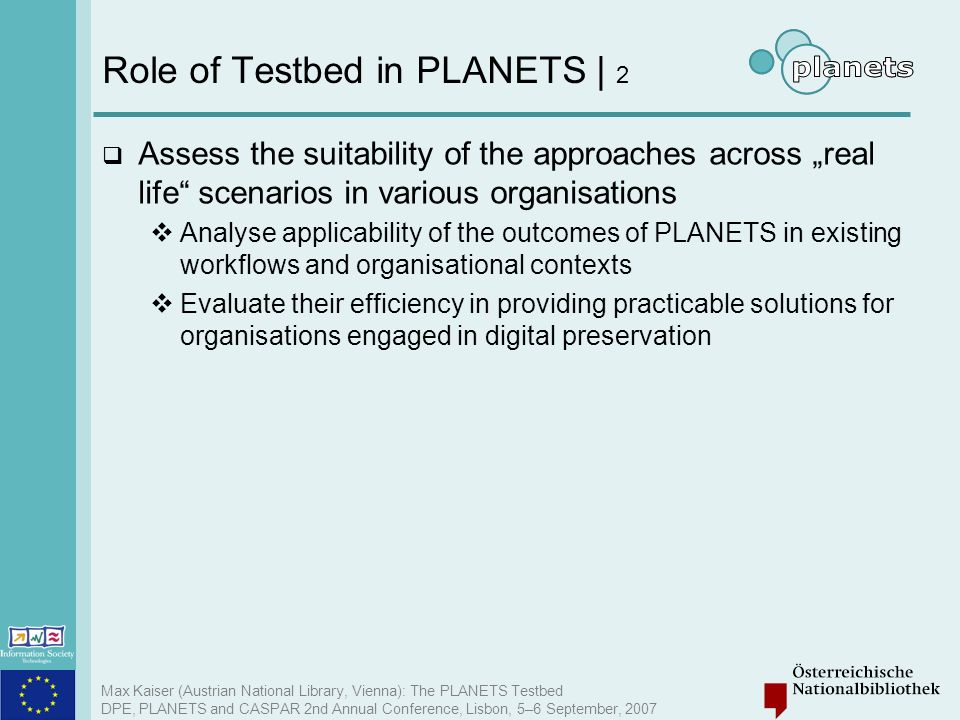Role of Testbed in PLANETS | 2