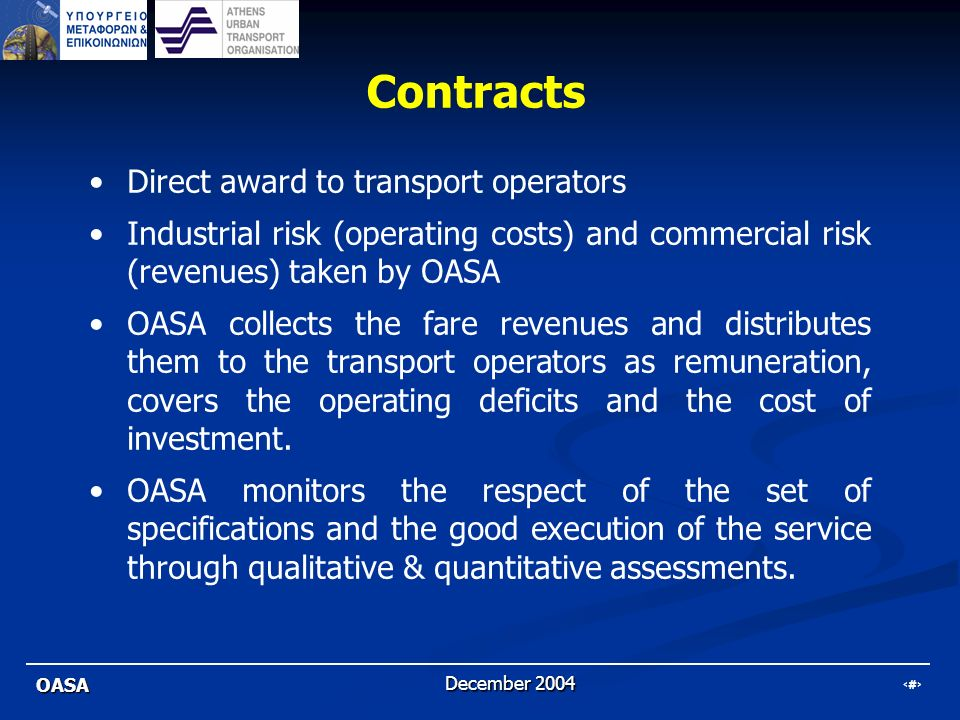 Contracts Direct award to transport operators