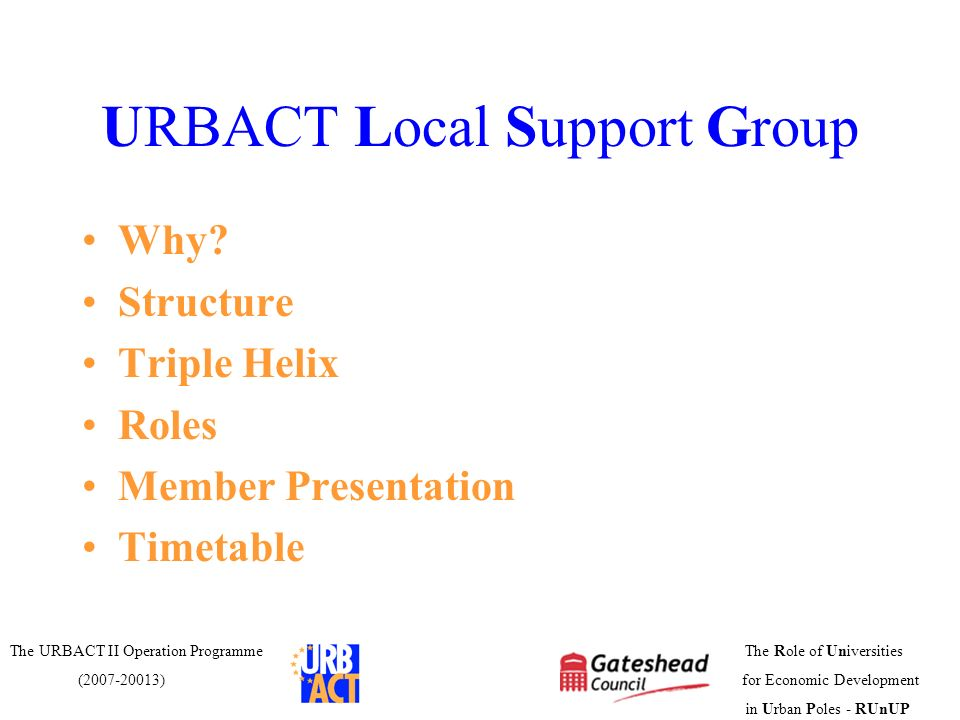 URBACT Local Support Group