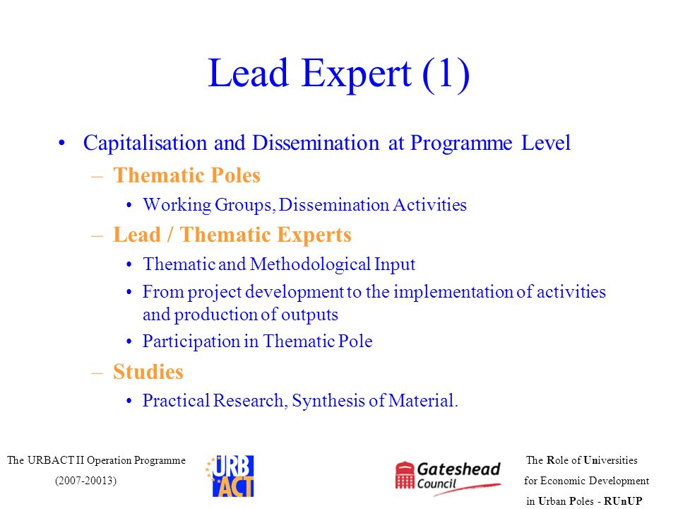 Lead Expert (1) Capitalisation and Dissemination at Programme Level