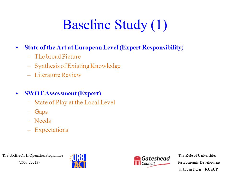 Baseline Study (1)State of the Art at European Level (Expert Responsibility) The broad Picture. Synthesis of Existing Knowledge.