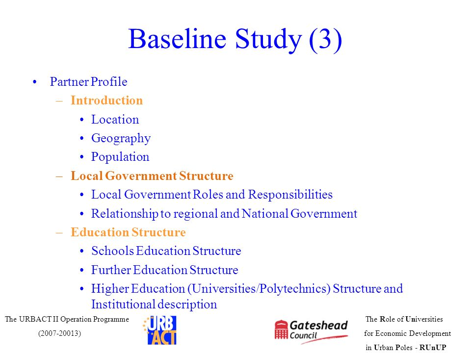 Baseline Study (3) Partner Profile Introduction Location Geography